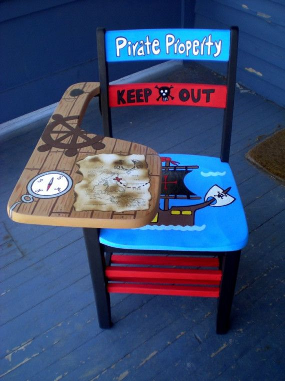 Pirate Theme School Desk by OmGurl by DebbieIsAdopted on Etsy