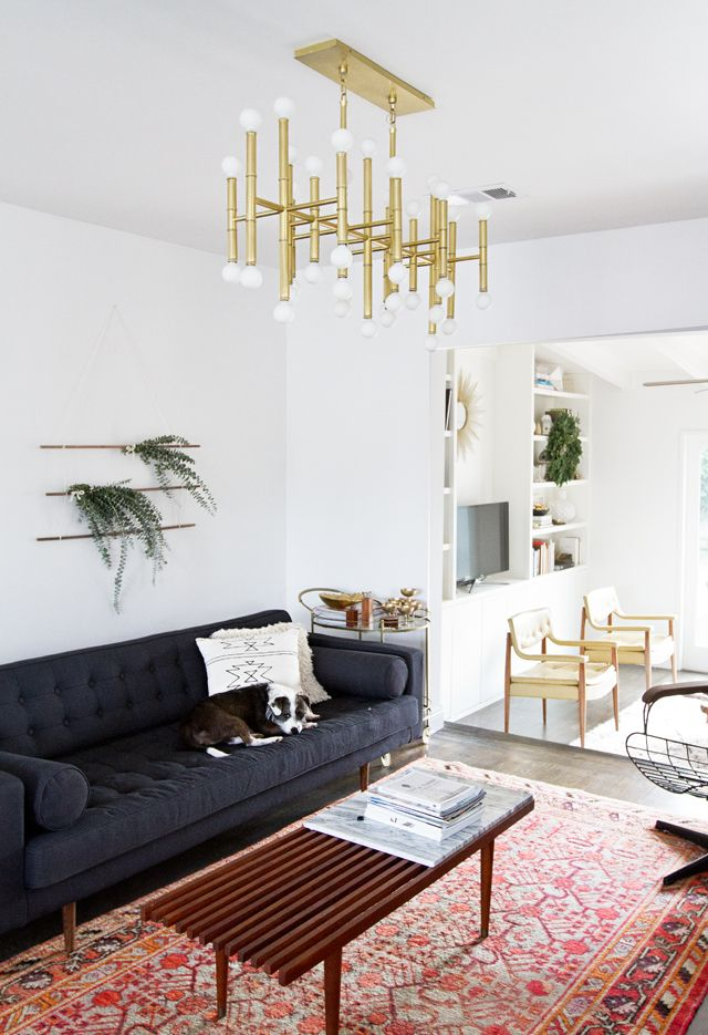 Slat bench coffee table and mcm gold chandelier--via PIcked for You