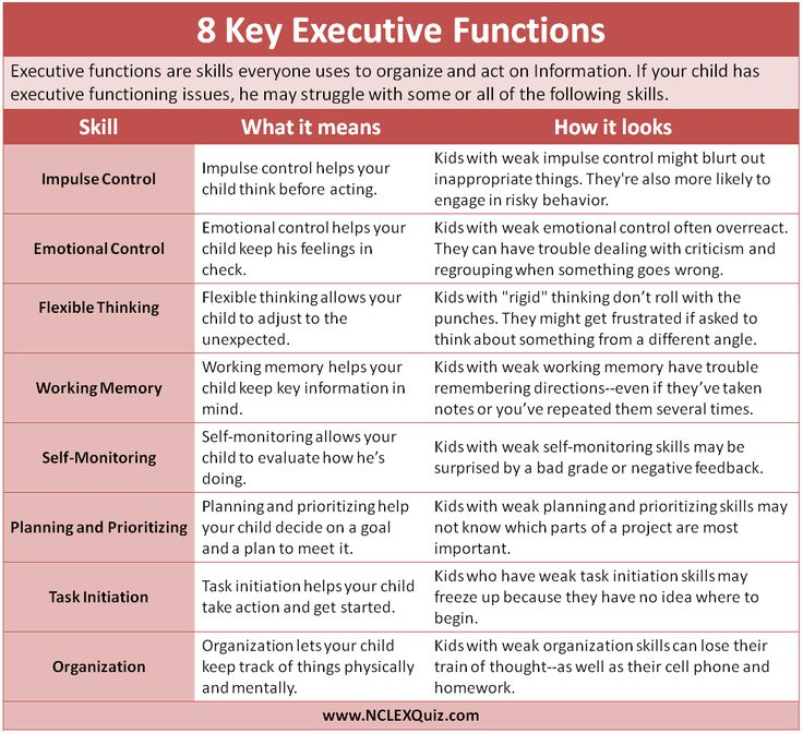 Executive Function Skills Cheat Sheet (updated)