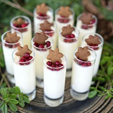 [ Vaniljpannacotta med lingon ] 8-9 port. 5 dl vispgrädde / 3 msk strösocker / vaniljstång / 2 gelatinblad. Garnering: lingon, färska el frysta / strösocker / maränger / minipepparkakor | Blötlägg gelatin, kallt vatten 5–10 min. Koka grädde, socker + vaniljstång på medelvärme. Skrapa ur vaniljfröna, lägg tillbaka i grädden. Ta bort grädden från värmen. Krama ur gelatinblad, rör i varma grädden. Ställ i kallt vattenbad tills svalnat, rör om då o då. Häll i glas, stå kallt minst 4 tim.