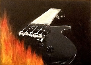 The guitar's on fire !  Acrylic on canvas.  20.10.2011