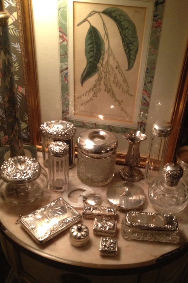 These antique silver dresser jars deserve a glamorous room of their own