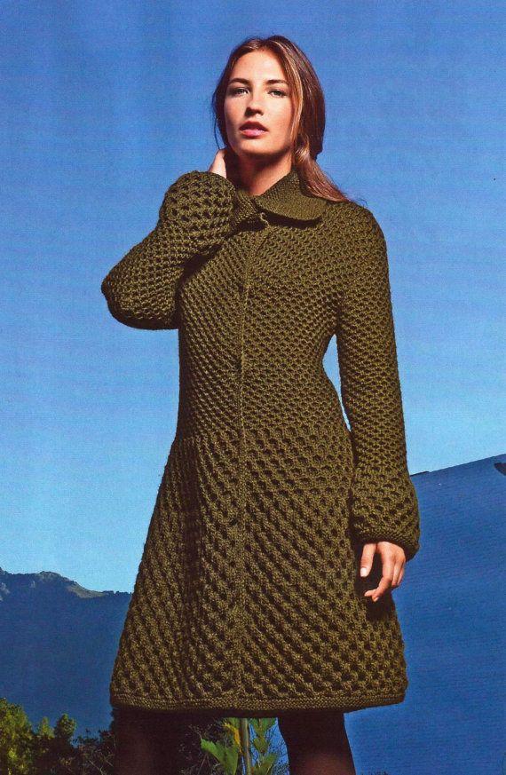 Hand Knit women's coat aran women's jacket women by BANDofTAILORS