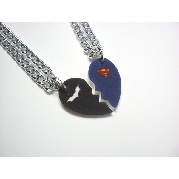 Batman and Superman-Half Heart Necklace Set ($15) ❤ liked on Polyvore featuring jewelry, necklaces, accessories, batman, colares, heart necklace, plastic charms, heart jewelry, heart shaped charms and charm chain necklace