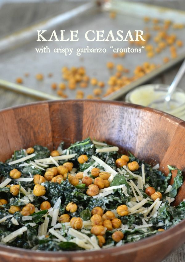 Lacinato kale ceasar salad with crispy garbanzo bean croutons recipe - think I'll sub Greek yogurt for the mayo