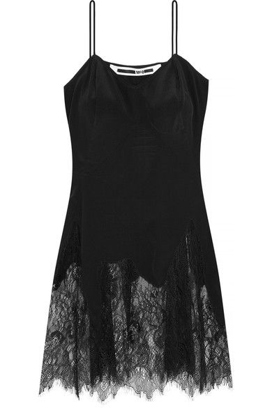 Black silk and lace Slips on  100% silk; trim: 100% polyamide Hand wash