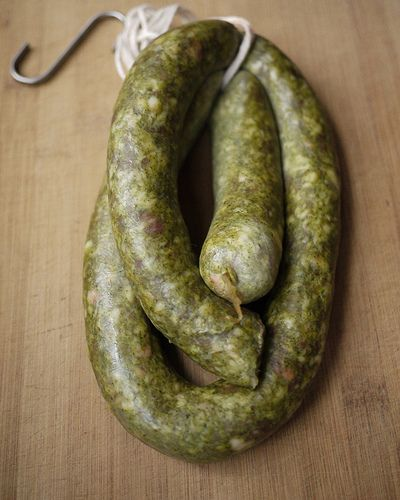 MEXICAN CHORIZO VERDE (green chile pork sausage) ~~~ recipe gateway: this post's link + http://www.lomexicano.com/recipe/best-green-chorizo + http://www.rickbayless.com/recipe/green-chile-chorizo/ + http://www.girlichef.com/2012/06/chorizo-verde-chorizo-stuffed-jalapenos.html + http://www.bonappetit.com/recipe/green-chorizo [Mexico] [Rick Bayless] [saucissonmac] [lomexicano] [girlichef]