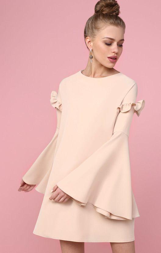 Платье-трапеция с пышными рукавами и рюшами TOP20 Studio / 2000000250703-5