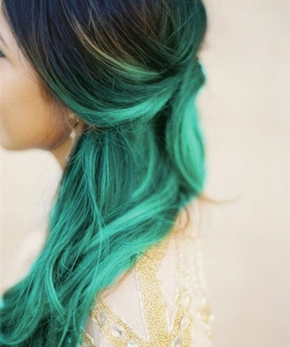 Black to teal green & blue ombre hair color,mermaid hairstyle, nice hair color dye new choice~