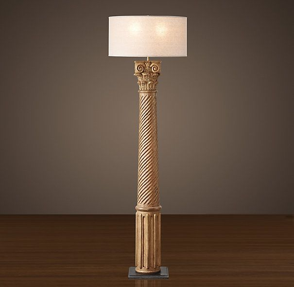 Hand carved corinthian column floor lamp with french drum for Restore wooden floor lamp
