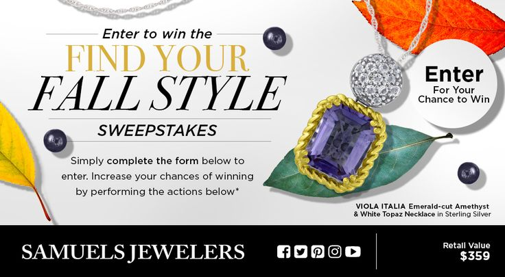 "I entered into the Samuels Jewelers' ""Find your Fall Style"" Sweepstakes for a chance to win a Viola Collection, Emerald-cut Amethyst & White Topaz Necklace! You can too! Just click my pin!"