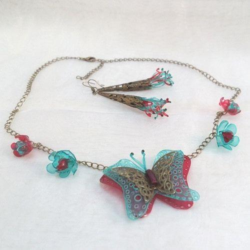 Náhrdelník + naušnice - Motýl