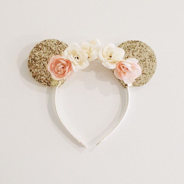 Gold Minnie Mouse Ears on Ivory and Peach Floral Crown Headband ($20) ❤ liked on Polyvore featuring accessories, hair accessories, floral garland, glitter garland, floral crown headband, head wrap headband and flower crown
