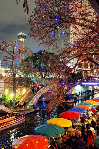 Hemisfair Tower in the background, Casa Rio tables on the Riverwalk ~ San Antonio, TX