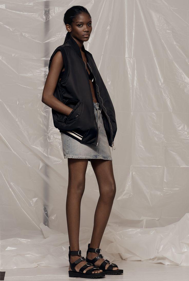 AllSaints Women's March Lookbook Look 4: Anika Gilet, Rib Denim Skirt, Raquel Sandals