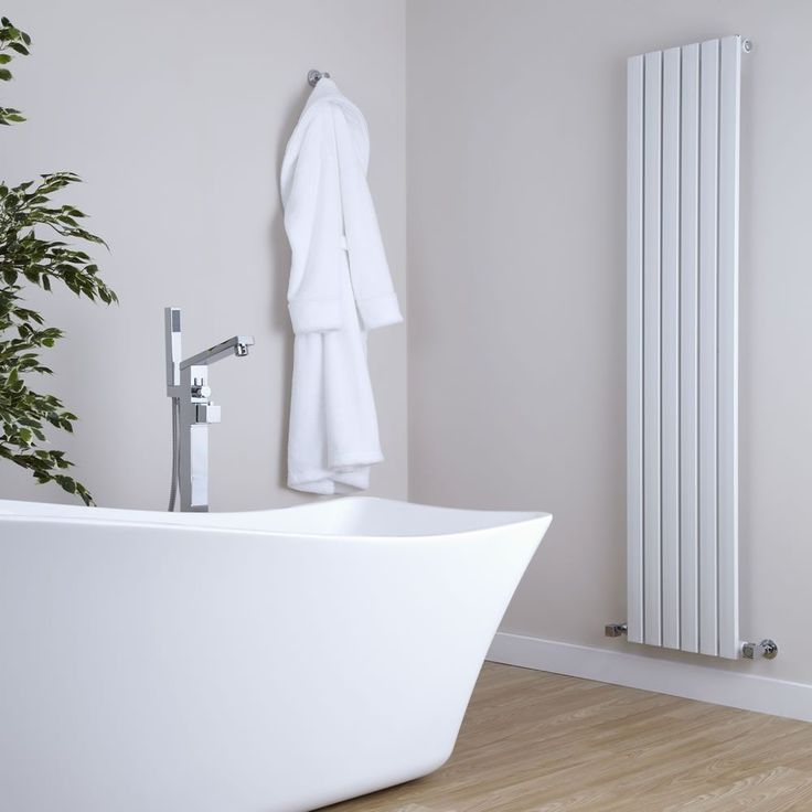 Milano Capri White Vertical Tall Flat Panel Designer Radiator In Grey Bathroom With Freestanding Bath