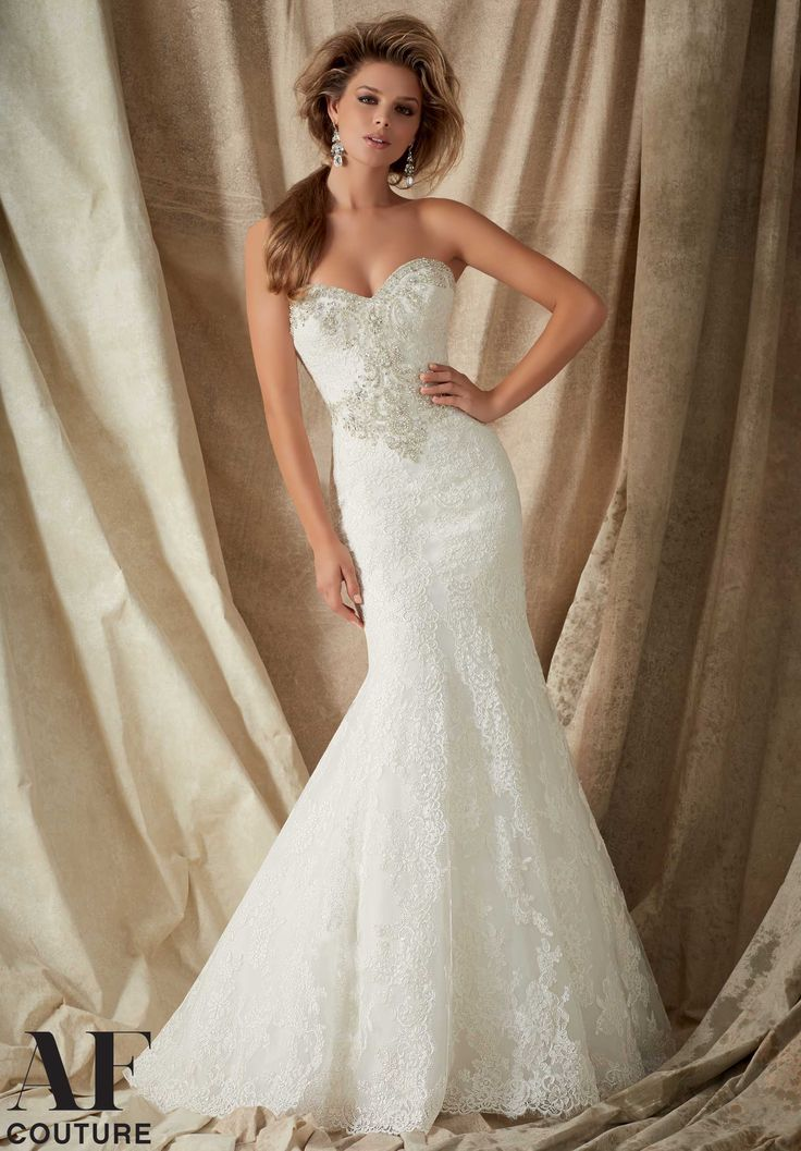 Wedding Gowns By AF Couture featuring Alencon Lace Trimmed with Crystal Beaded Embroidery- Available in Three Lengths: 55 inches, 58 inches, 61 inches Available in White, Ivory