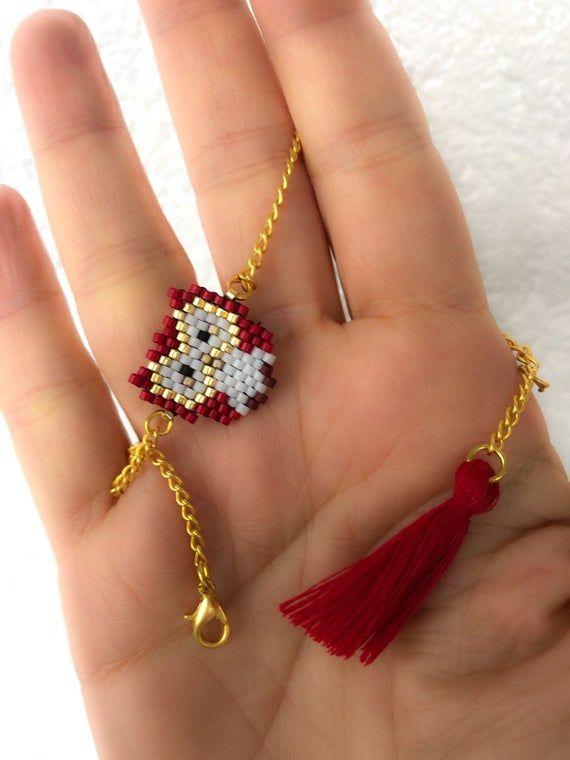 Hermosa Pulsera De Búho-Rojo Y Dorado