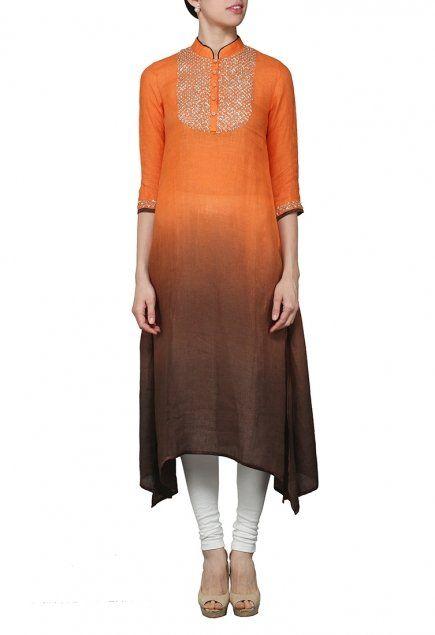 Orange and black ombre tunic