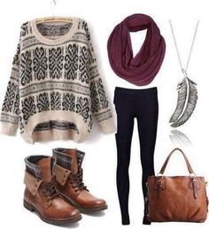 A cream and black patterned, over-sized, knit sweater over some black leggings paired with a maroon infinity scarf and brown leather combat boots. Accessories: a matching brown leather handbag and a low hanging feather necklace.