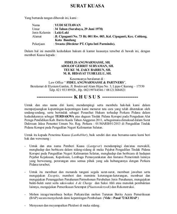 Contoh Surat Kuasa Khusus Pidana Yang Baik Dan Benar Surat