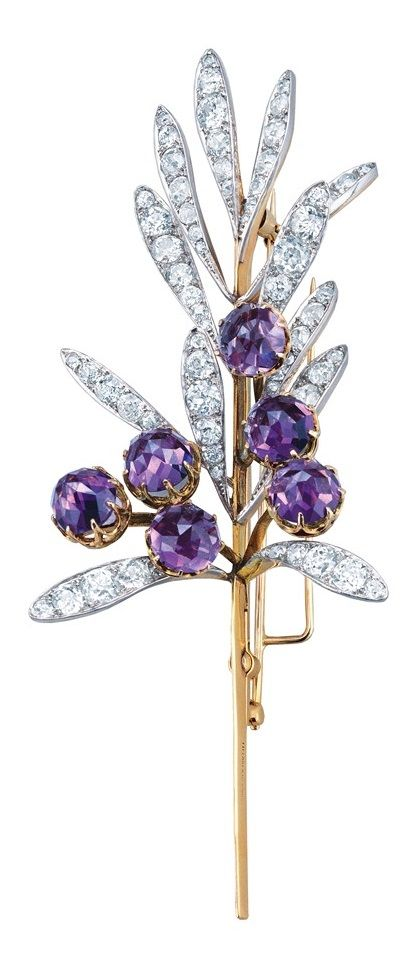 René Lalique for Tiffany & Co. - Platinum, Gold, Amethyst and Diamond Brooch - 1894