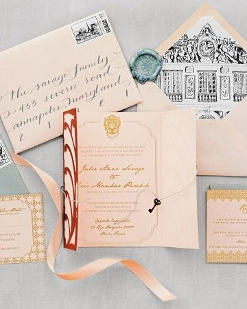 This invitation suite by Little Bit Heart was inspired by Versailles and decorated with ornate architectural details