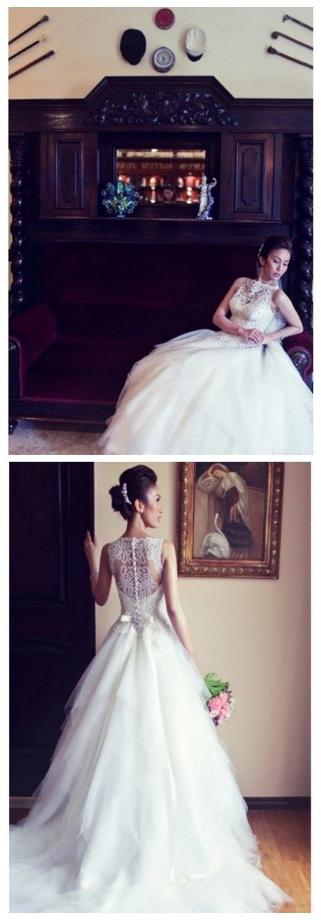 Newest Ball Gown Floor-length Luxury Beading Wedding Dresses With Sashes (WD0090)