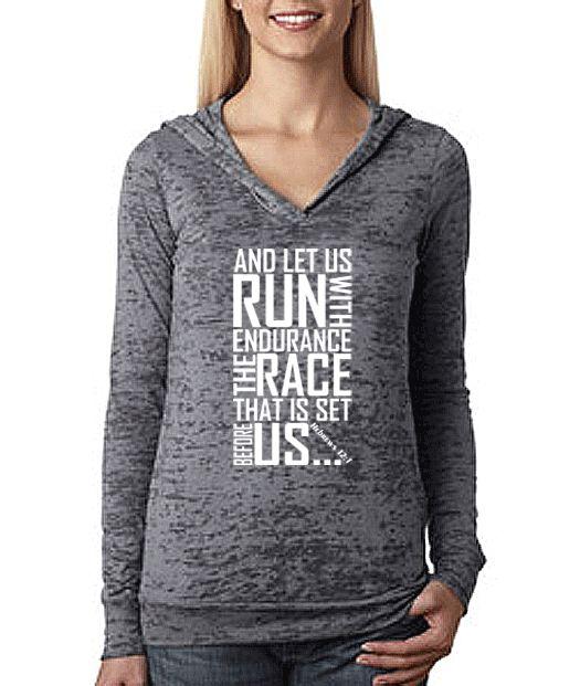 Keep Running the Race Hebrews 12 1 Bible Verse Christian Workout Hoodie