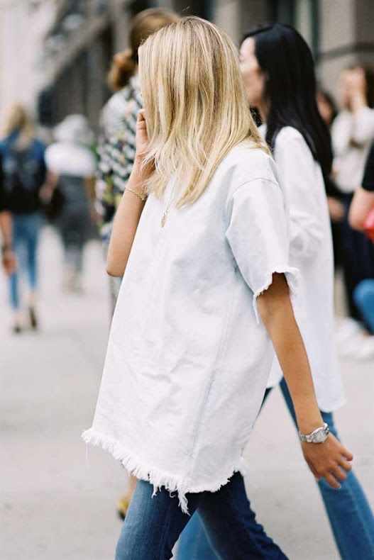 Oversized frayed top