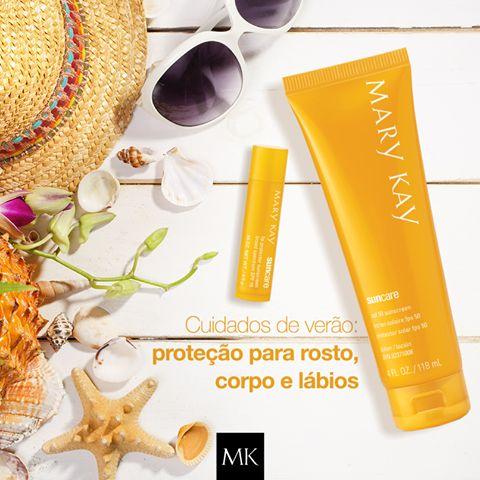 Férias estão chegando e os cuidados com a pele não podem parar ! Leve na sua mala o novo protetor solar mary kay, FPS 30 e o Protetor solar para os Lábios FPS 15