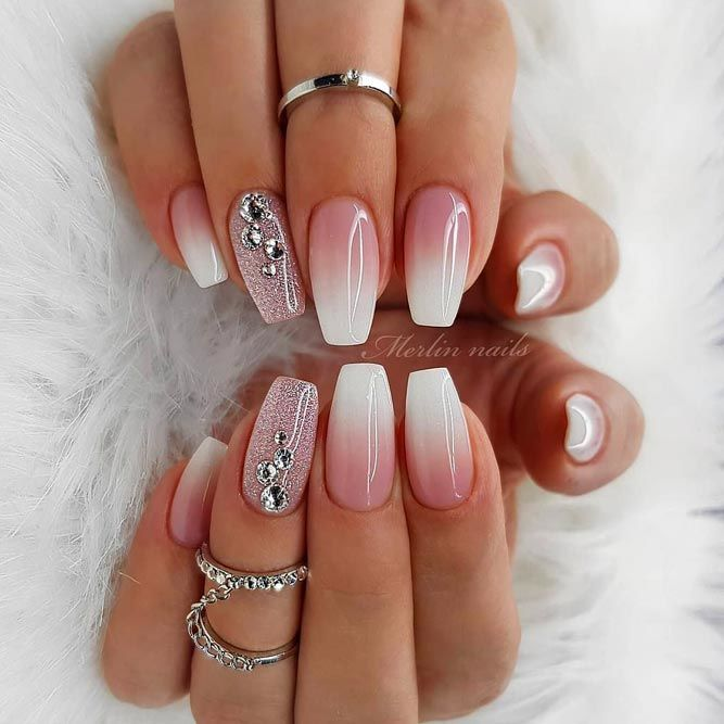 Shine Bright Like A Diamond With Our Ideas Of Luxury Nails In 2020 In 2020 Trendy Nail Art White Nail Designs Cute Nail Art Designs