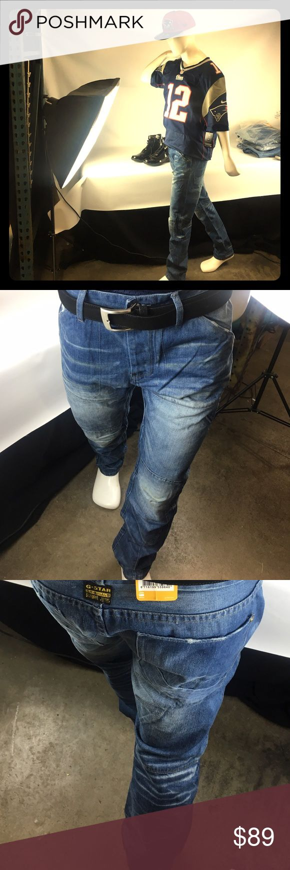 """NWT MENS w x 33"""", L x 34"""" G STAR RAW Jeans/5620 NWT. Mens  w x 33"""", L x 34"""", G STAR RAW, Graft, Tapered Leg , Nitro Denim, Button Fly Jeans. The color is called """" Sun Bleached """" style 5620 G STAR Jeans Slim"""