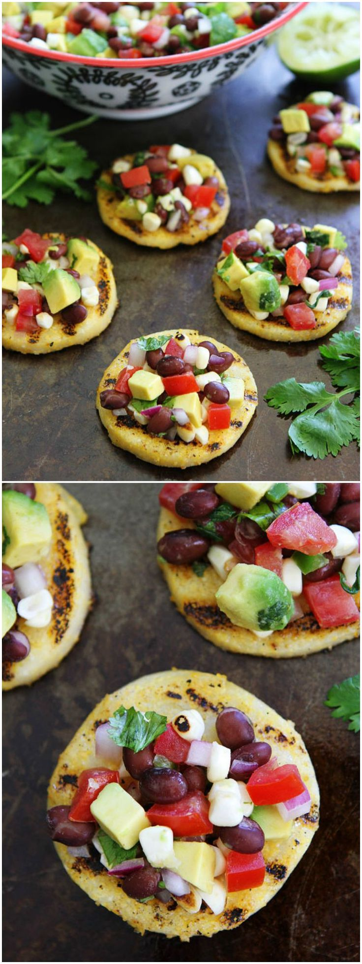 Grilled Polenta Rounds with Black Bean and Avocado Salsa Recipe on twopeasandtheirpod.com This easy appetizer is perfect for parties!