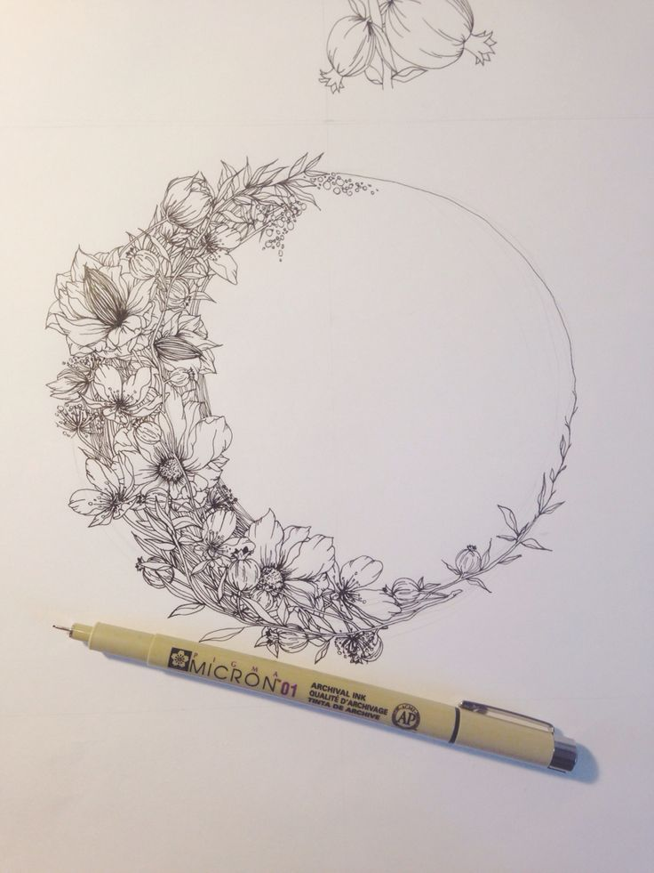 Floral crescent moon illustration by Jenna Rainey of Mon Voir...