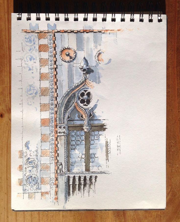 Venetian window sketch. Sketchbook. Art Journal. Travel Diary.