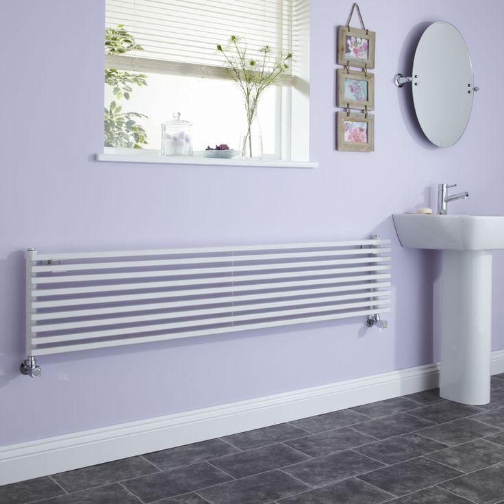 White designer radiator in suite.