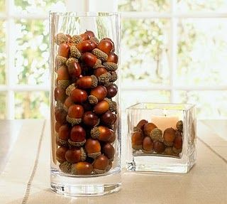 Fall: Centerpiece, Fall Decoration, Holiday, Ideas, Autumn, Fall Decorating, Acorn Vase, Vase Fillers