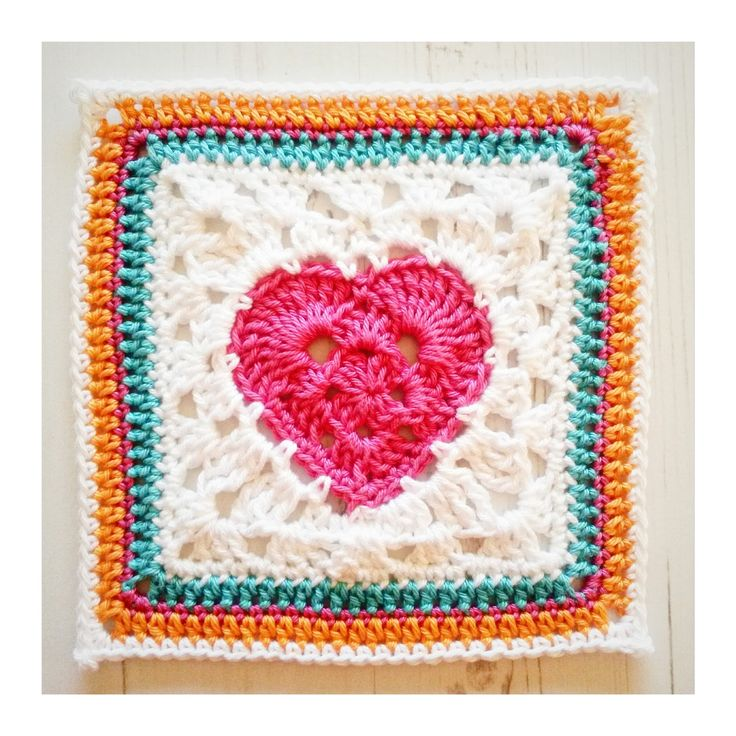 117 best Crochet squares with hearts images on Pinterest   Granny ...