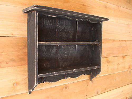 Tall black vintage shabby chic distressed handmade wall shelf old looking Distressed wall shelf with hooks Farmhouse Furniture TX