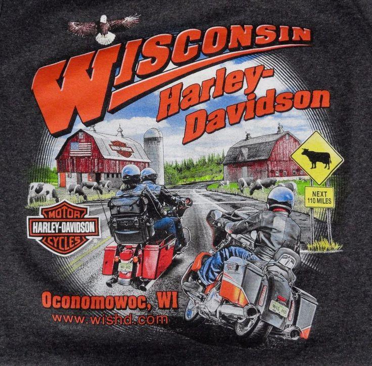 Harley-Davidson Men's 3XL Sleeveless T-Shirt Barns Eagle Cows Oconomowoc WI Gray #HarleyDavidson #GraphicTee