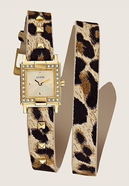 "Guess :: Studded Double Wrap Watch Animal Print -wish there was a ""love"" button"