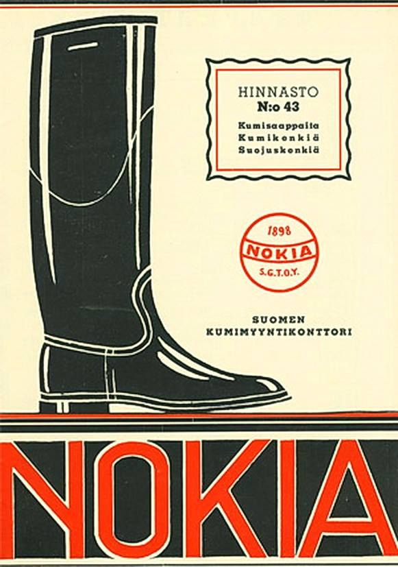 """Long time before mobile phones. """"Nokia - Waterproof boots & Rubber Shoes""""  Suomi (Finland), 1937"""