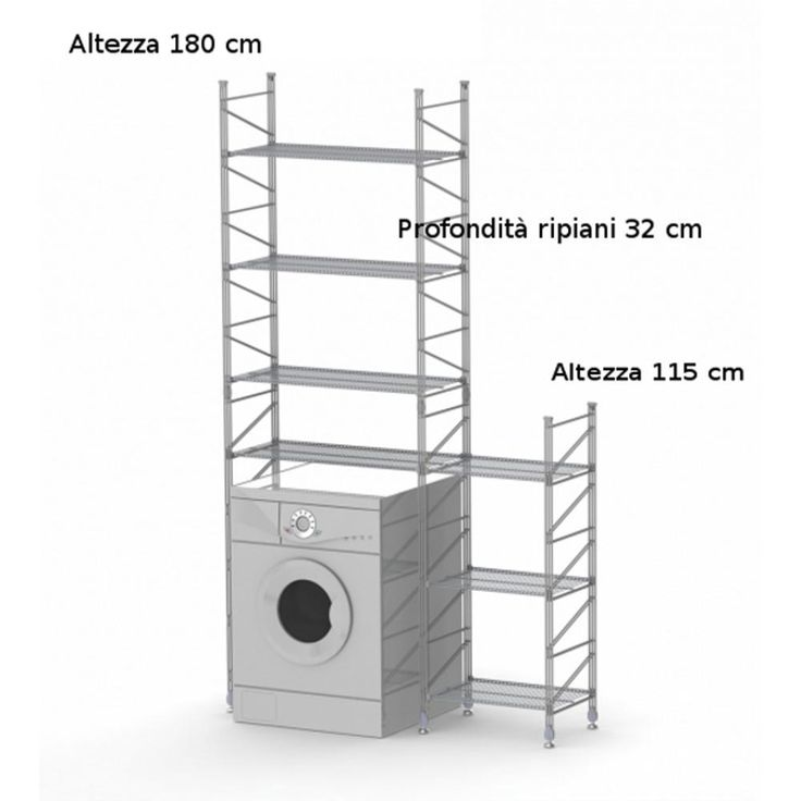 Scaffale componibile modulo lavatrice 32xh180 - 32xh115 cm in acciaio verniciato | wisy | Stilcasa.Net: ripiani in acciaio