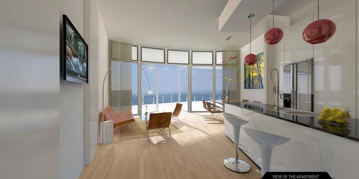 Studio Work. Interior Rendering of High Rise Apartment Building.