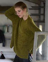Free pattern on Ravelry: Aurora by Kari Hestnes - Comfy soft oversized olive-coloured sweater