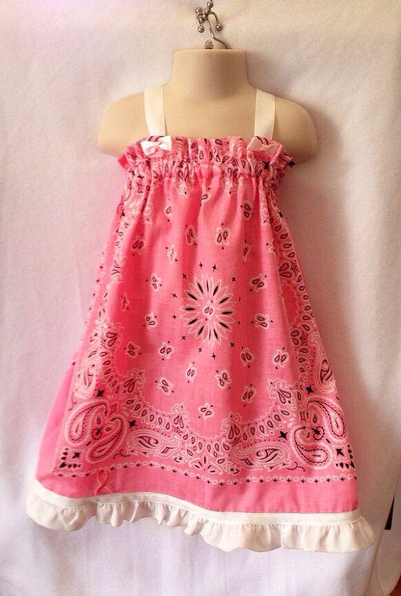 Go pink bandana dress, dress, toddler dress, girl dress, boutique dress, summer dress, breast cancer dress on Etsy, $13.50