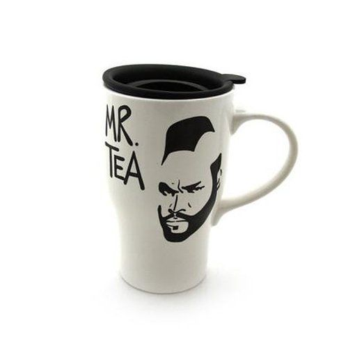 Mr. Tea Travel Mug with Handle White. Mr T Tea Travel Mug- I pity the fool that doesn't love to travel with tea! This travel mug is made from earthenware clay and has a handle--another version is always available in my shop as an eco cup in double walled porcelain with a silicon top. You decide- handle or not! This is a hand painted earthenware ceramic travel mug, created using all non toxic, lead free materials and kiln fired twice to 1900 degrees. It should fit perfectly in your car cup...
