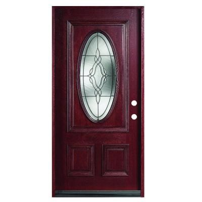 Main door solid mahogany type prefinished antique 3 4 oval for Home depot office doors