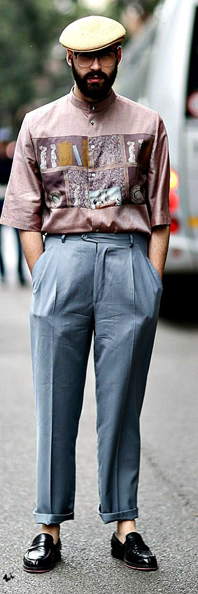 Interesting street style - look at that vintage shirt!